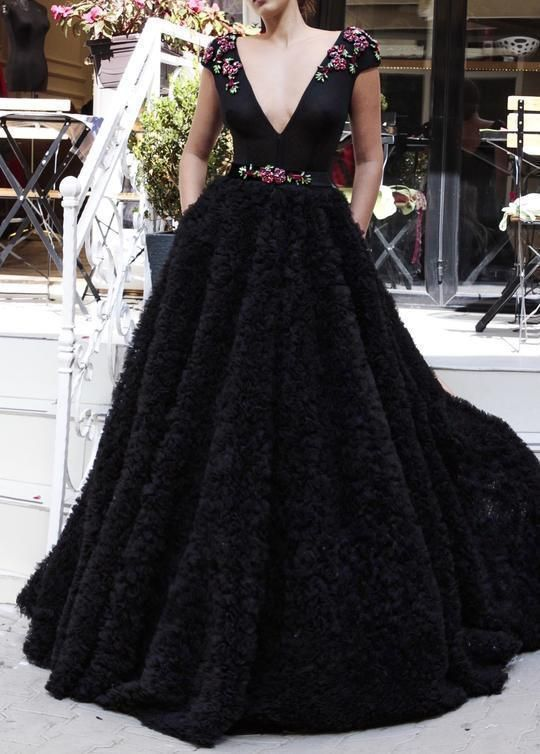 Charming Deep V-neck Black Prom Dresses P2257