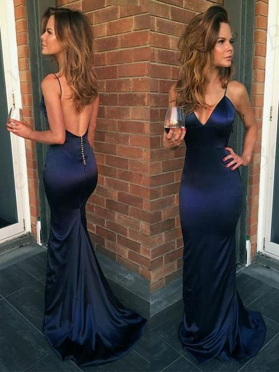 Mermaid Navy Blue V Neck Backless Evening Dresses ,Cheap Prom Dresses P2259