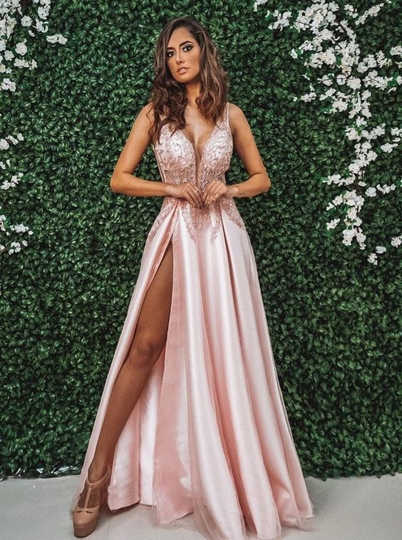 Pink Long Prom Dresses satin Evening Dresses A-Line Formal Dresses P2261