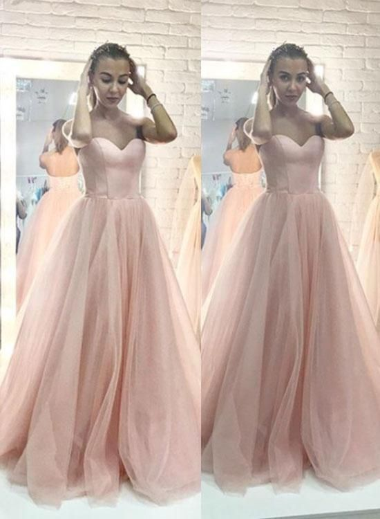 Pink Sweetheart Long Prom Dresses Tulle Evening Dresses A-Line Formal Dresses