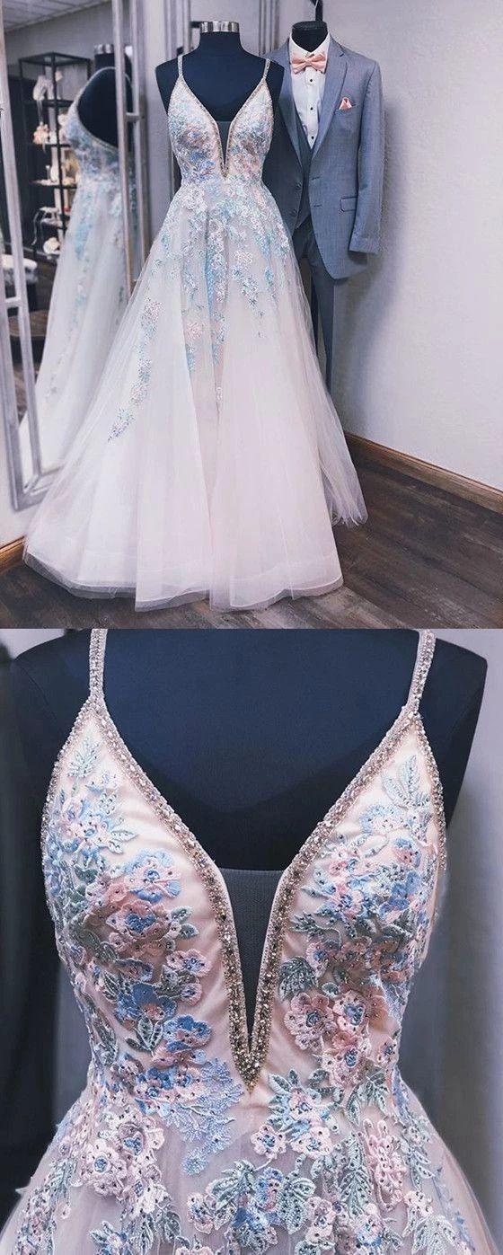 Beading Spaghetti Straps Deep V-neck Embroidery Prom Dress P2263