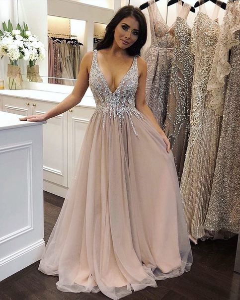 Luxurious V Neck Sequined Formal Evening Dress 2020  P2265