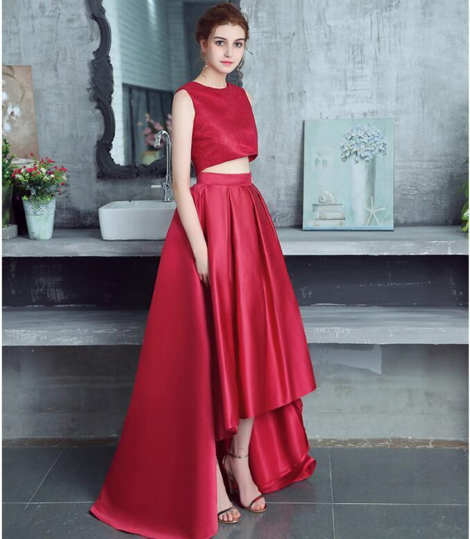 New Arrival Burgundy Lace Long Prom Dress 2 Pieces Homecoming Party Gowns A Line
