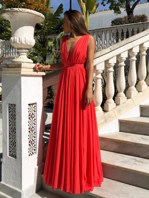 Fashion Red Chiffon Backless Long Prom Dresses 2020 Cheap Pleated Prom Party