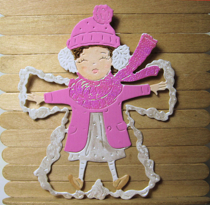 Girl Making A Snow Angel Cutting Die Tattered Lace