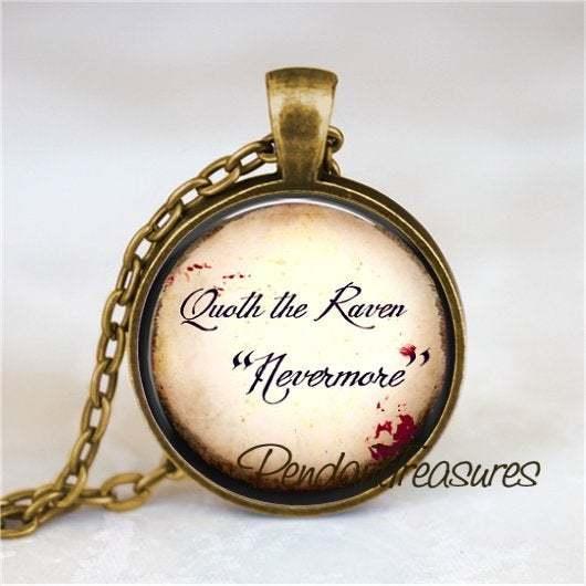 EDGAR ALLAN POE Quoth The Raven Nevermore, Raven Necklace, Raven Pendant, Glass