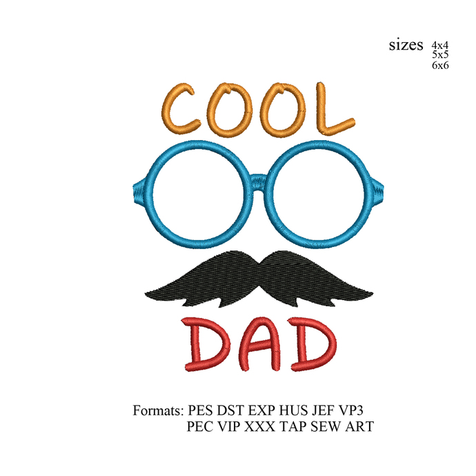 Cool Dad Embroidery design,dad Embroidery Design, Father love embroidery pattern