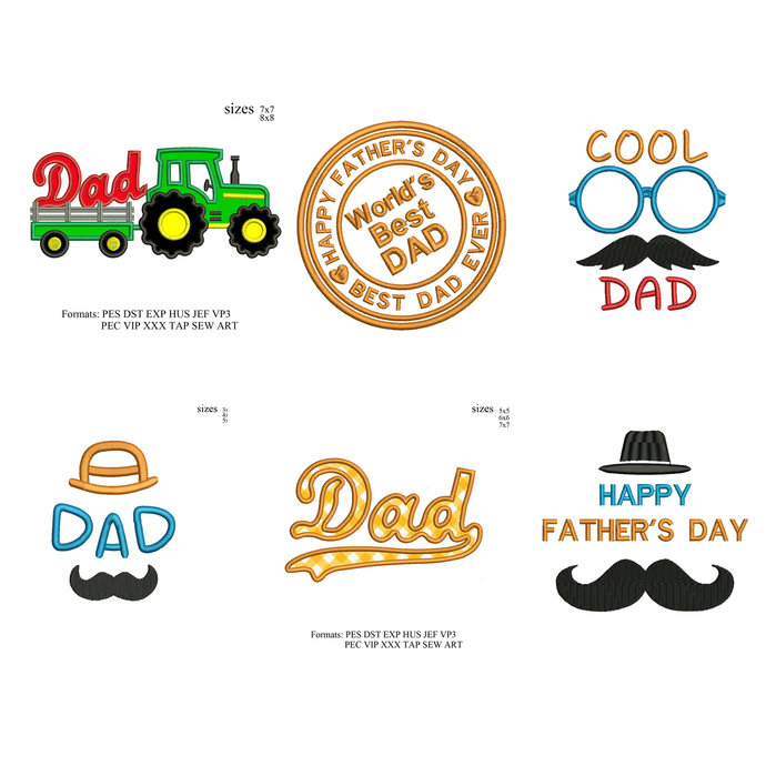 Fathers day set Embroidery design,dad Embroidery Design, Father love embroidery