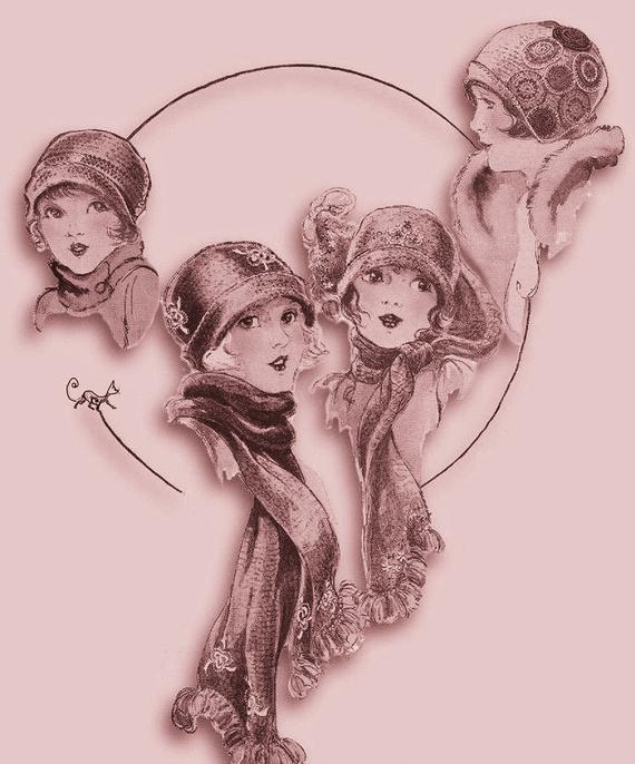 Instant PDF Digital Download Vintage 1920's Crochet Pattern Girl's Misses