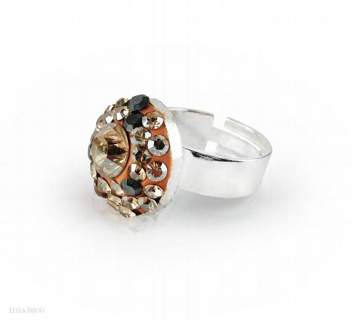 Golden Ring Swarovski Crystal Silver Plated Gray Orange