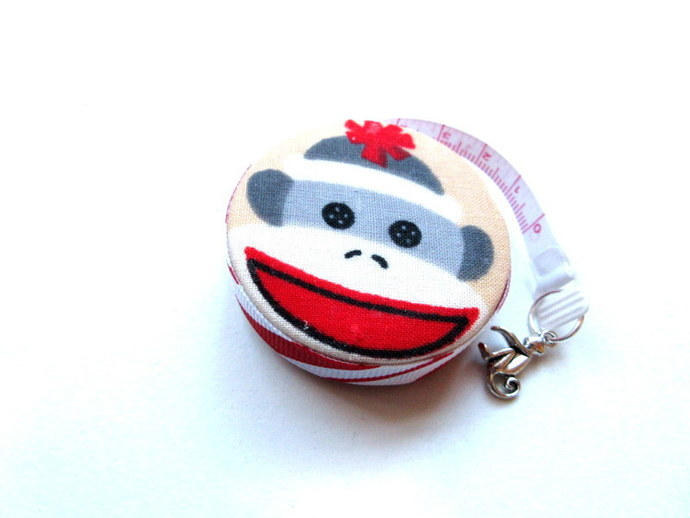 Measuring Tape with Sock Monkey Head Small Retractable Tape Measure