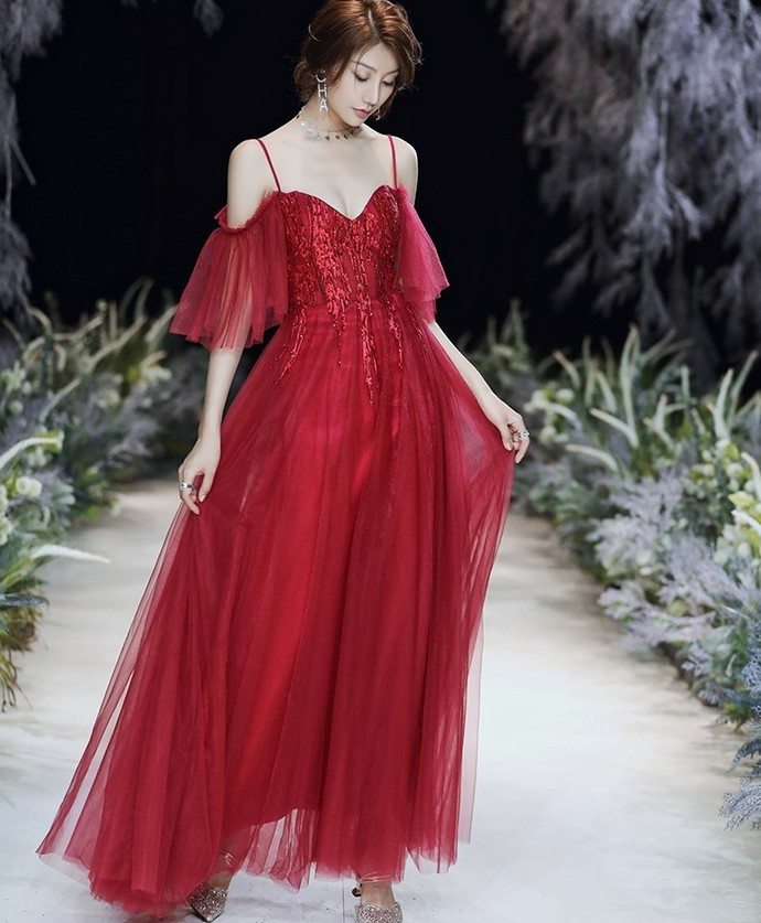 Red Prom Dress,A-line Prom Gown,Spaghetti Straps Prom Dress,Tulle Wedding Gown