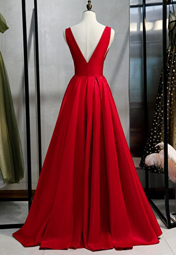 Charming Red Long Party Dress, V-neckline Prom Dress 2020