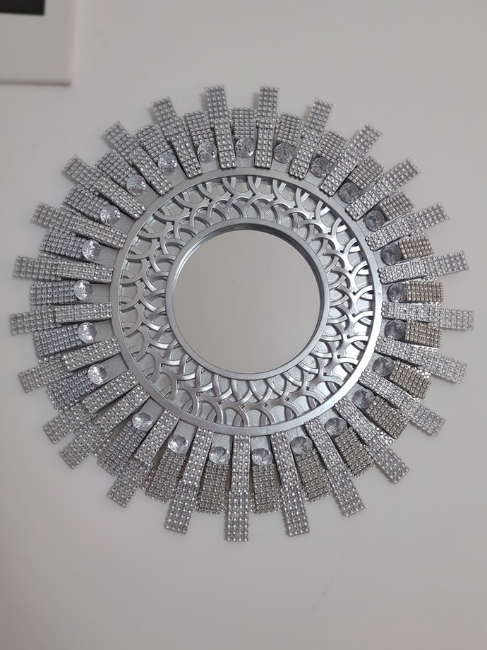 Silver modern wall mirror