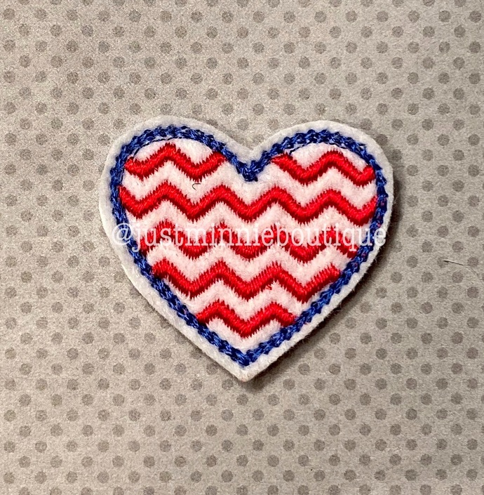 HEART PATRIOTIC Feltie 4 pc UNCUT