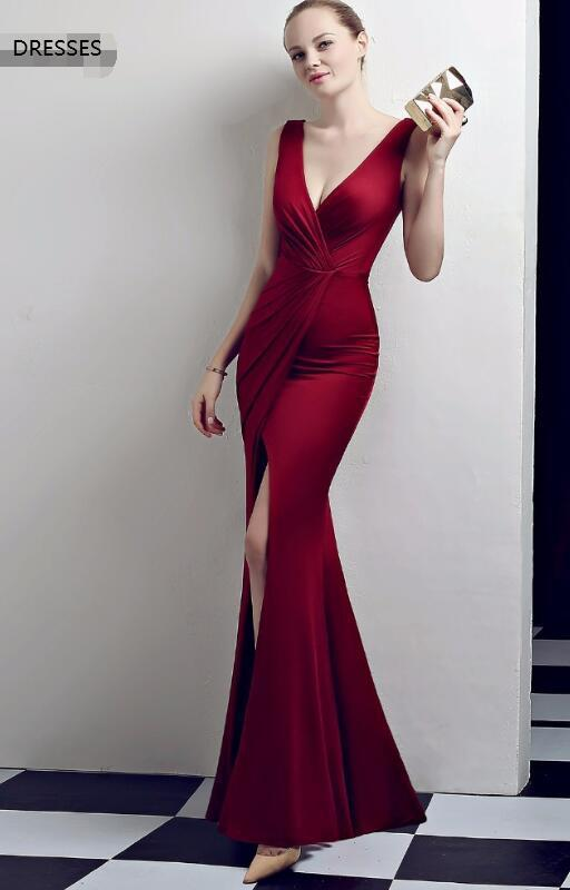 Dress shoulders temperament sexy burgundy long simple new prom dress DGR00122