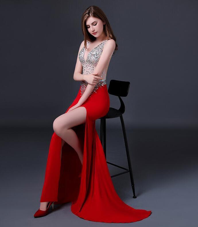 New Dress Net Gauze Prom Dress Red Hollow Girl Long Dress Hotel Banquet Party