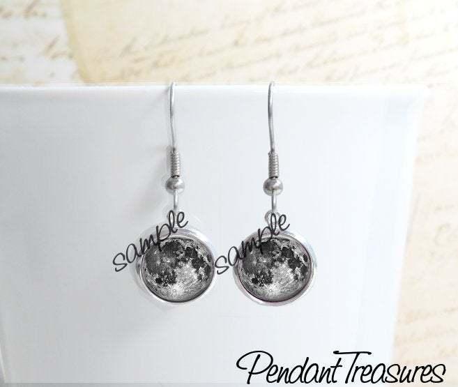FULL MOON Glass Dome Earrings, Full Moon Drop Earrings, Full Moon Dangle