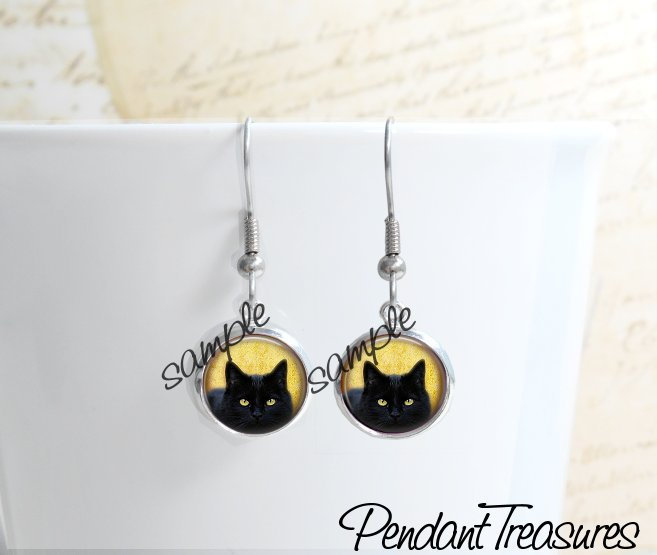 BLACK CAT  Glass Dome Earrings, Black Cat Drop Earrings, Black Cat Dangle