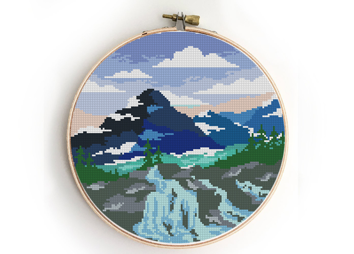Glacier national park counted cross stitch pattern - Cross Stitch Pattern