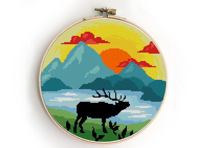 Grand Teton national park counted cross stitch pattern - Cross Stitch Pattern