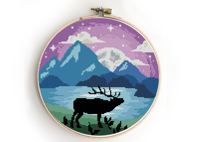 Grand Teton national park counted cross stitch pattern - Cross Stitch Pattern