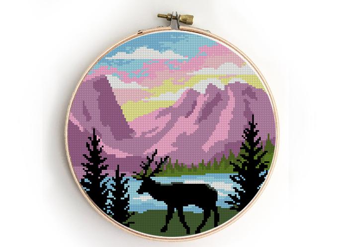 Rocky mountains national park counted cross stitch pattern - Cross Stitch