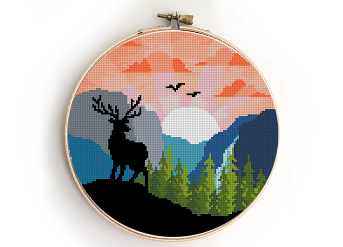 Yosemite national park counted cross stitch pattern - Cross Stitch Pattern