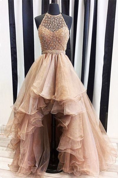 Champagne Organza Prom Dress High Low Dress Ball Gown A-Line Evening Dresses Hot