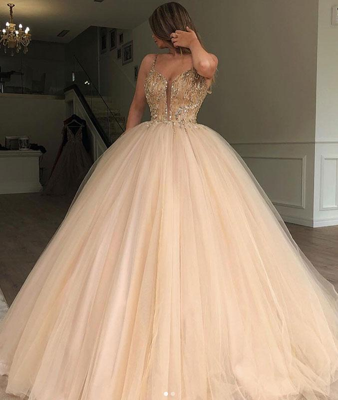 Spaghetti Straps Long Prom Dresses Champagne Tulle Sweetheart Evening Dresses
