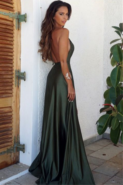 Sexy Backless V Neck Prom Dresses Green Evening Dresses Slit Party Gowns Cheap
