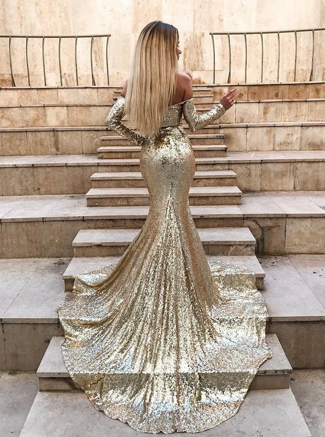 Unique 2019 Prom Dress Emerald Sequined Evening Dress Mermaid Prom Dresses Hot