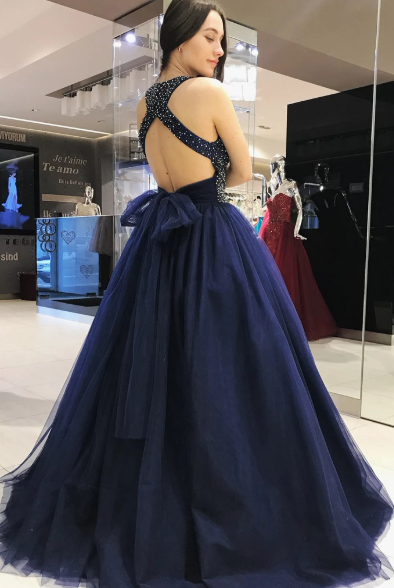 Elegant Scoop Royal Blue Ball Gown Beading Prom Dresses