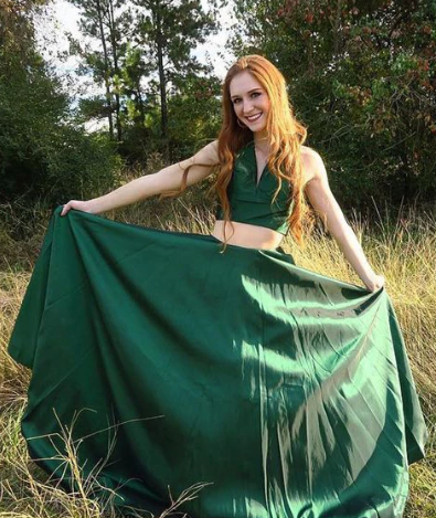 Green Two Pieces A Line Simple Long V Neck Prom Dresses