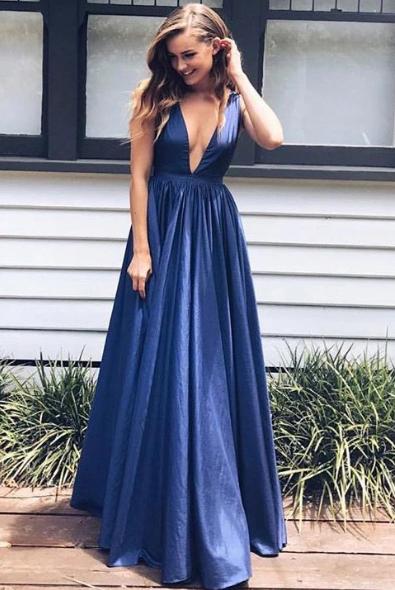 Sexy Taffeta A-line Floor-length V Neck Long Prom Dresses