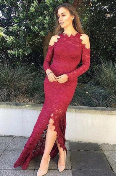 Elegant Mermaid Split Front Long Sleeves Burgundy Lace Prom Dress