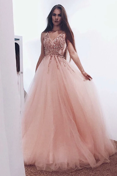 A-Line Pearl Pink Tulle V Neck Long Prom Dress with Sequins