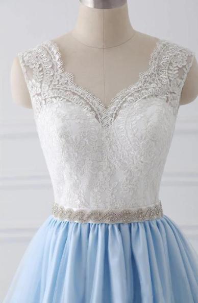 Sky Blue Long V Neck Evening Dress with Beaded Belt,Lace Top Long Prom Dress