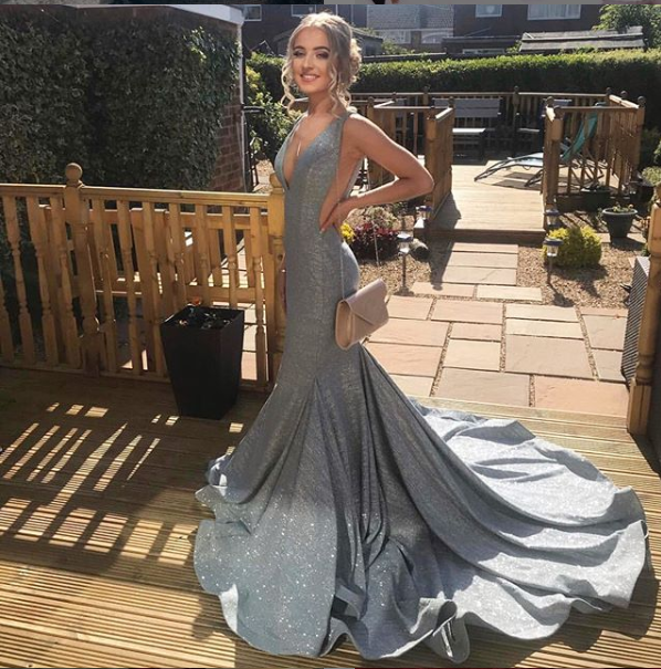 V-Neck Mermaid Elegant Prom Dresses,Long Prom Dresses,Cheap Prom Dresses,