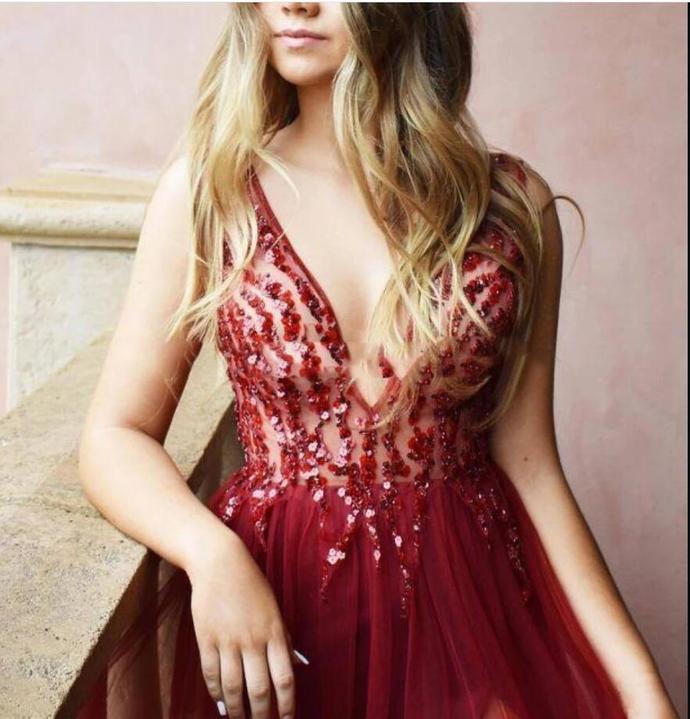 Charming Burgundy Beaded Tulle Long Prom Dresses Cheap Side Slit Formal Evening
