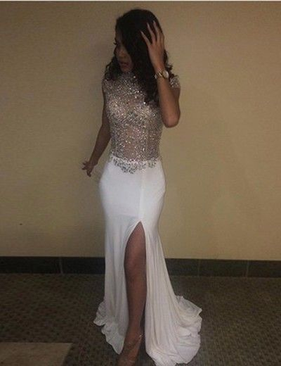 Luxury beaded Corset Mermaid Prom Dress With Side Slit Prom Party GownsCaped
