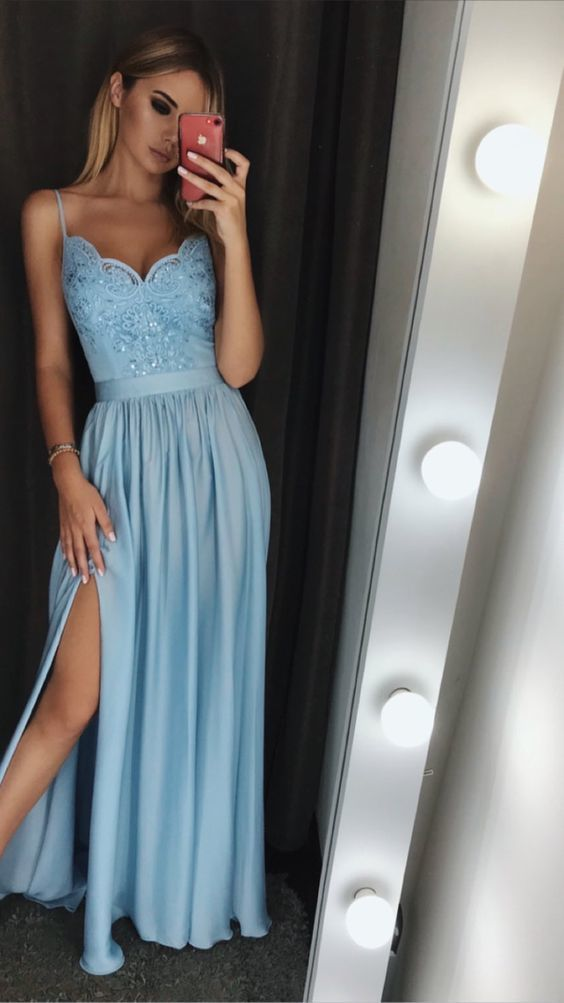 Spaghetti Strap A Line Blue Ruffle Lace Prom Dresses With Appliqued ,Sexy Prom