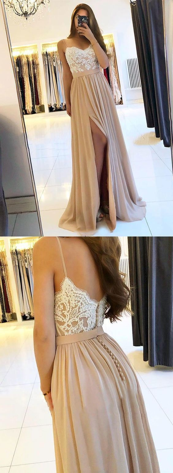 Cheap A Line Champagne Chiffon Long Prom Dress With Lace, Sexy Slit Formal Gowns