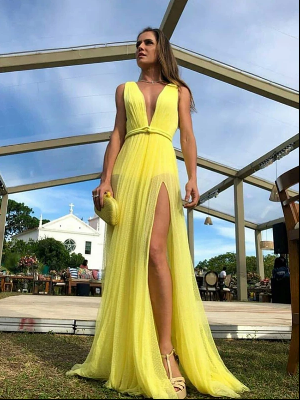 Long Prom Dress A-line Simple Modest Beautiful Yellow Cheap Prom Dress, CD382