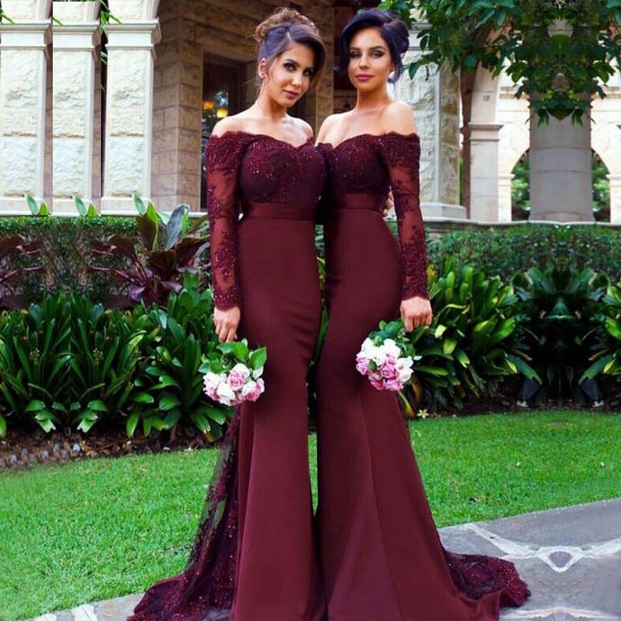 Burgundy bridesmaid dresses long sleeve lace appliqué beaded mermaid elegant