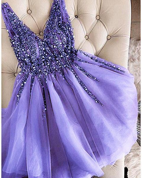 Luxury Beaded Lavender Tulle Short Homecoming Dress A Line Party Gowns ,Custom