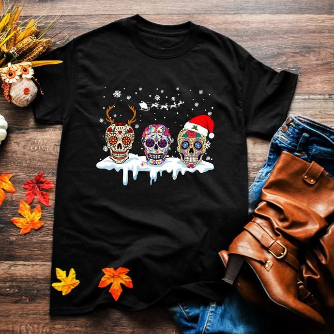 Skulls, hippie skull, hippie, skull png, hippie style, reindeer, santa hat,