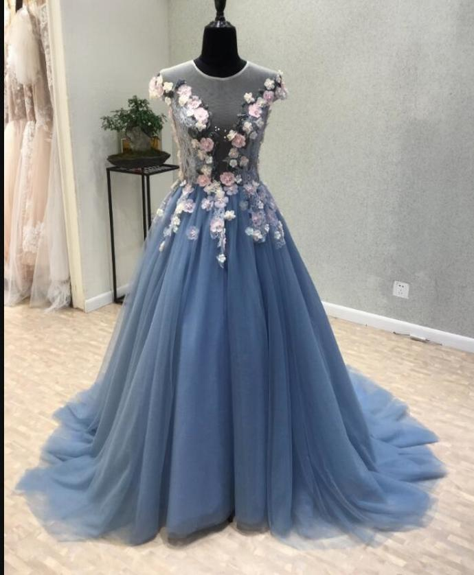 Elegant Scoop A Line Blue Tulle Prom Dresses With Beaded Flowers 2020 Cheap