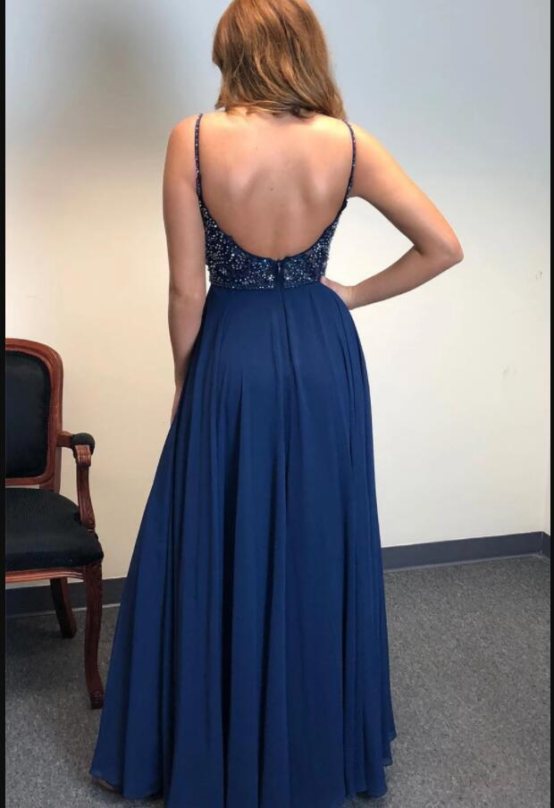 Navy Blue Beaded Crystal A Line Long Prom Dresses 2020 Custom Made Prom Party