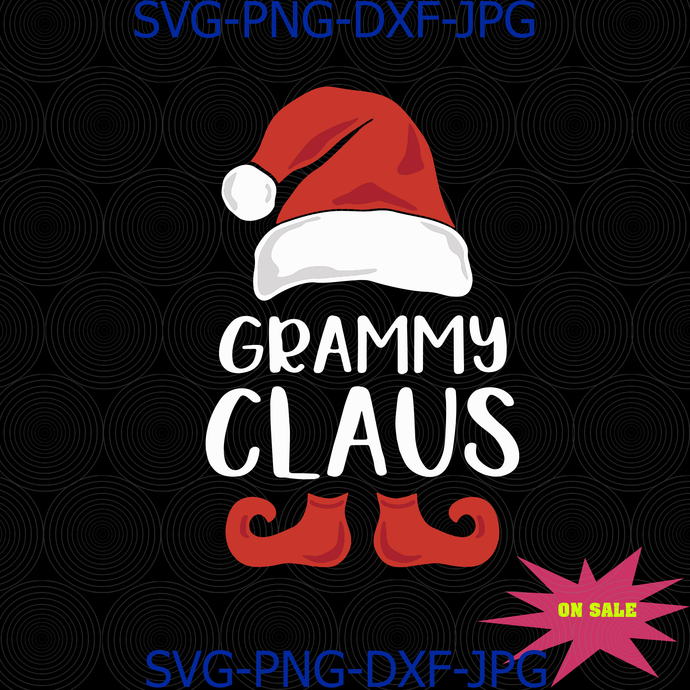 Grammy Claus Funny Santa Claus Hat Christmas Grandma Family Matching SVG PNG